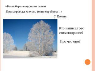 «Белая береза под моим окном Принакрылась снегом, точно серебром…» С. Есенин