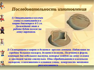 Последовательность изготовления 1) Отщипывается кусочек глины и скатывается в