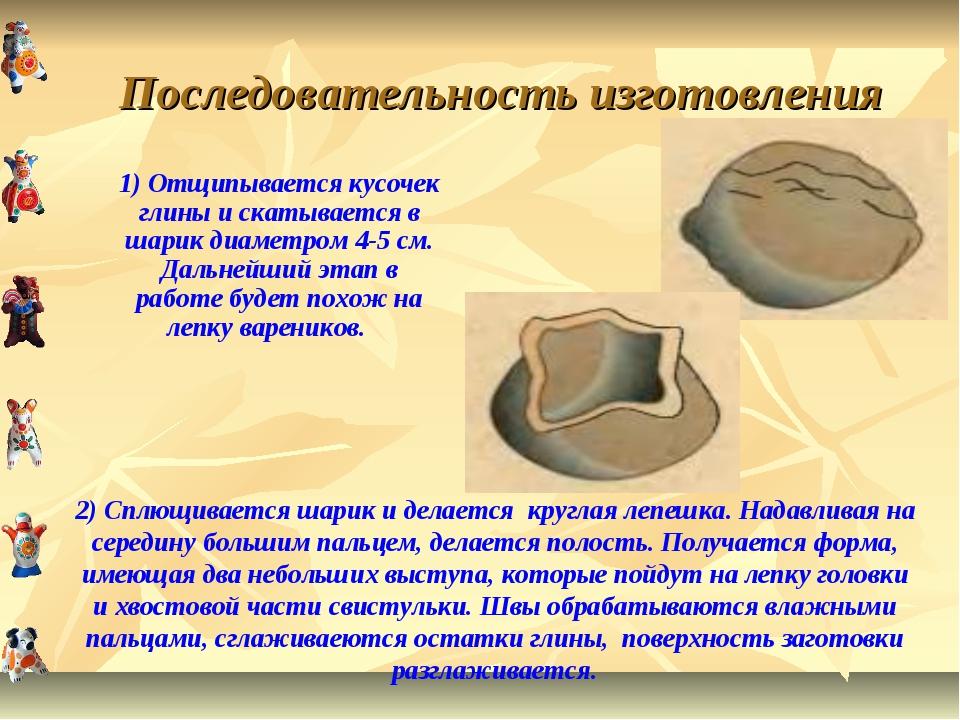 Последовательность изготовления 1) Отщипывается кусочек глины и скатывается в...
