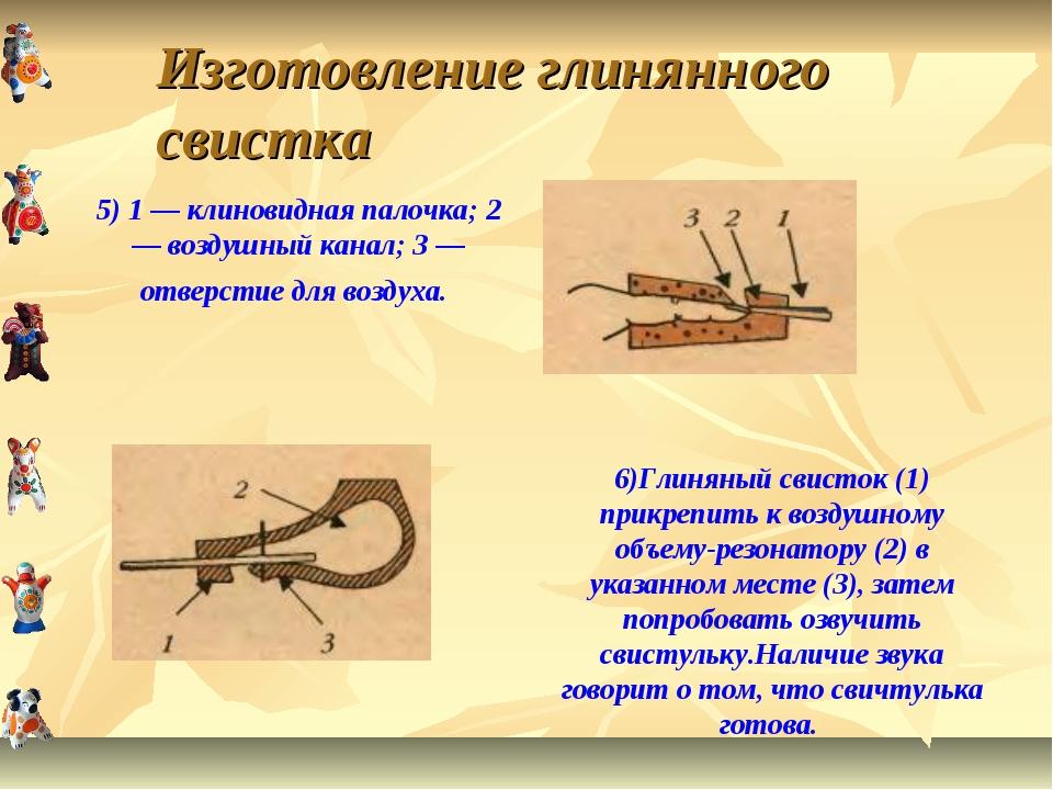 Изготовление глинянного свистка 5) 1 — клиновидная палочка; 2 — воздушный кан...