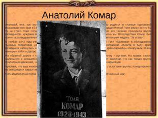 Анатолий Комар Анатолий, или, как его звали за юный возраст сослуживцы, Толя