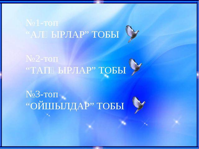 """№1-топ """"АЛҒЫРЛАР"""" ТОБЫ №2-топ """"ТАПҚЫРЛАР"""" ТОБЫ №3-топ """"ОЙШЫЛДАР"""" ТОБЫ"""