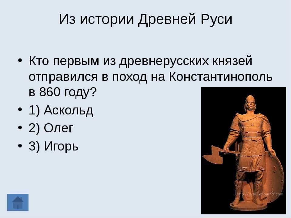 Из истории Древней Руси Кто первым из древнерусских князей отправился в поход...