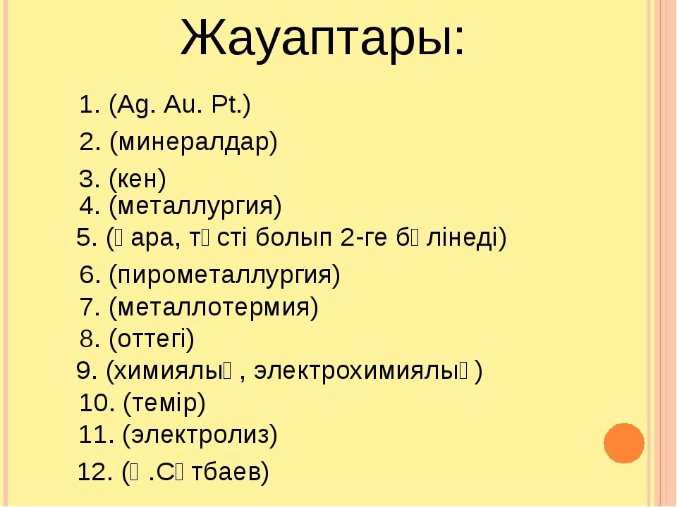 1. (Ag. Au. Pt.) 2. (минералдар) 4. (металлургия) 3. (кен) 5. (қара, түсті бо...