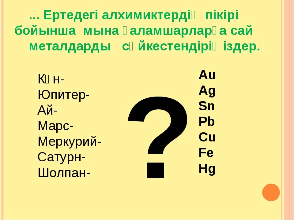 ... Ертедегі алхимиктердің пікірі бойынша мына ғаламшарларға сай металдарды...
