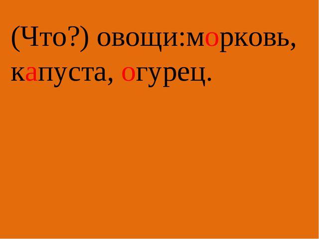 (Что?) овощи:морковь, капуста, огурец.
