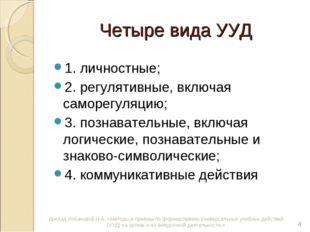 Четыре вида УУД 1. личностные; 2. регулятивные, включая саморегуляцию; 3. поз