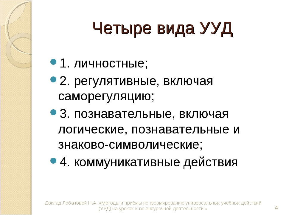 Четыре вида УУД 1. личностные; 2. регулятивные, включая саморегуляцию; 3. поз...