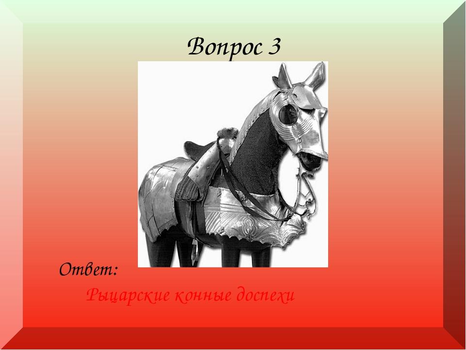 Вопрос 3 Ответ: Рыцарские конные доспехи