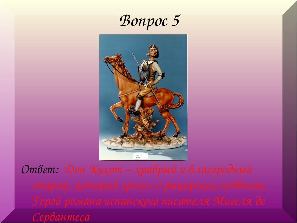 Вопрос 5 Ответ: Дон Кихот – храбрый и благородный старик, который грезил о ры...