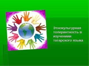 Этнокультурная толерантность в изучениии татарского языка