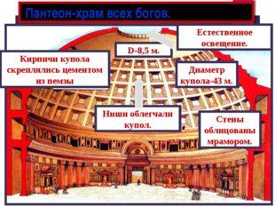 Пантеон-храм всех богов. Естественное освещение. D-8,5 м. Ниши облегчали куп