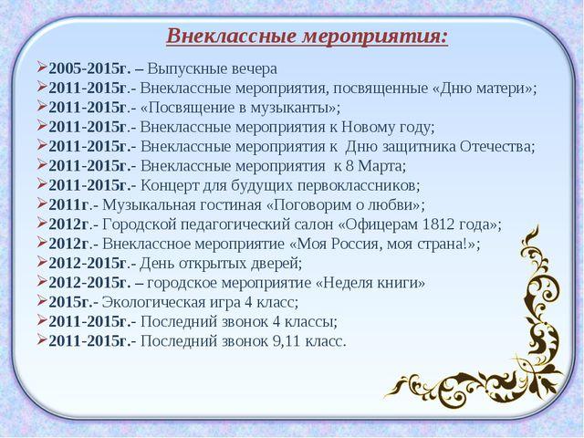 Внеклассные мероприятия: 2005-2015г. – Выпускные вечера 2011-2015г.- Внекласс...