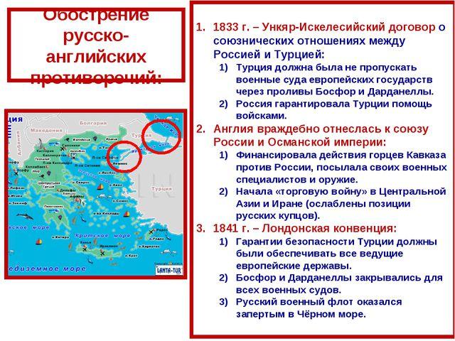 Обострение русско-английских противоречий: 1833 г. – Ункяр-Искелесийский дого...