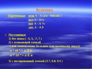 Величины 1. Переменные вещ А - А (а/я - бейсик ) цел А - А% нат А - А % лит А