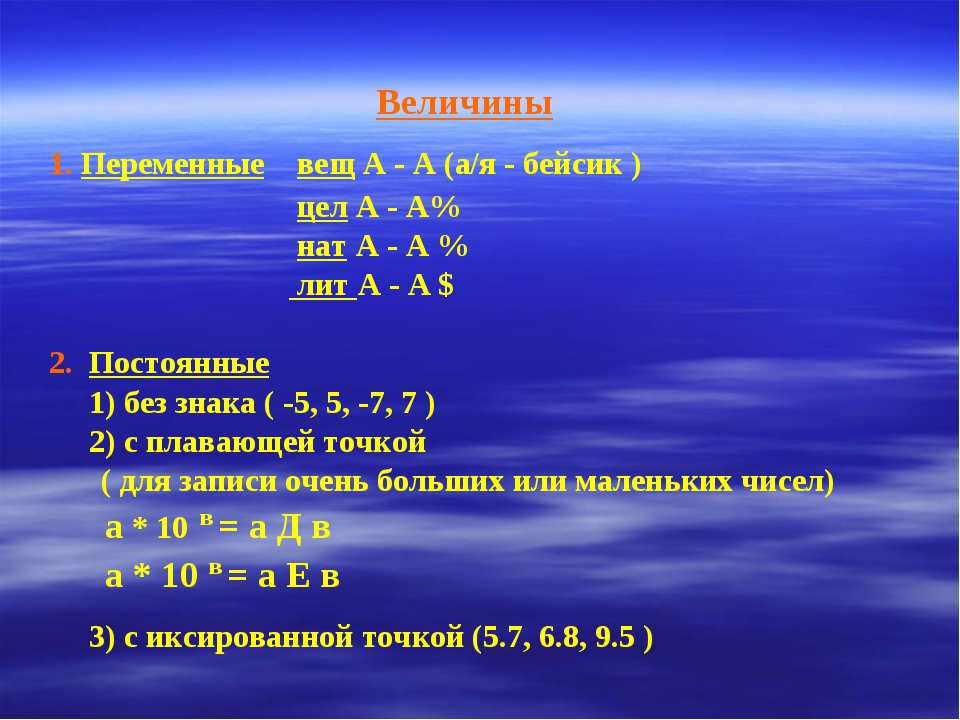 Величины 1. Переменные вещ А - А (а/я - бейсик ) цел А - А% нат А - А % лит А...