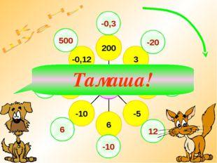 -0,3 -20 15 12 -10 6 40 500 Тамаша!