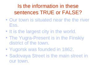 Is the information in these sentences TRUE or FALSE? Our town is situated nea