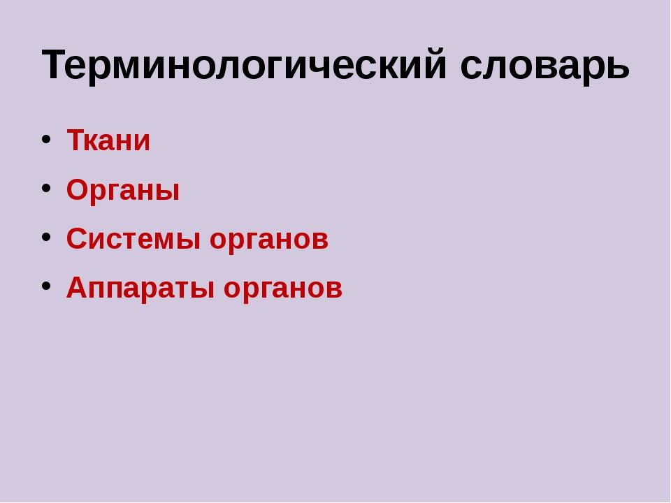 Терминологический словарь Ткани Органы Системы органов Аппараты органов