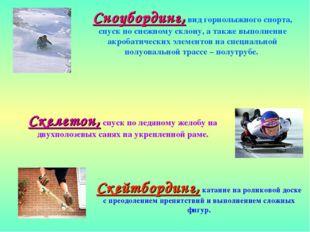 Сноубординг, вид горнолыжного спорта, спуск по снежному склону, а также выпол
