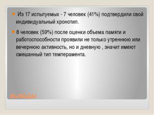 выводы Из 17 испытуемых - 7 человек (41%) подтвердили свой индивидуальный хро