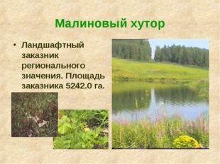 Малиновый хутор  Ландшафтный заказник регионального значения. Площадь заказ