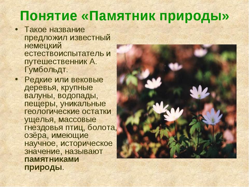 Понятие «Памятник природы» Такое название предложил известный немецкий естест...