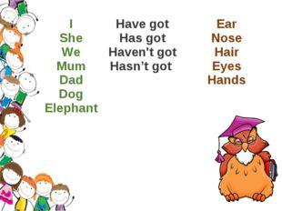 I She We Mum Dad Dog Elephant Have got Has got Haven't got Hasn't got Ear Nos