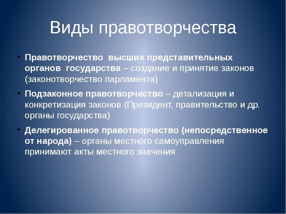 Виды правотворчества Правотворчество высших представительных органов государс...