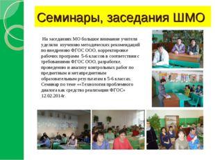 Семинары, заседания ШМО На заседаниях МО большое внимание учителя уделяли изу
