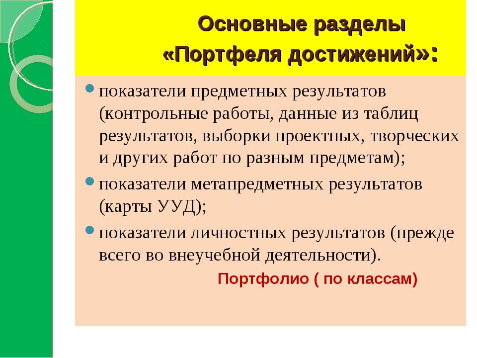 Основные разделы «Портфеля достижений»: показатели предметных результатов (к...