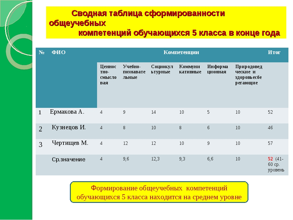 Сводная таблица сформированности общеучебных компетенций обучающихся 5 класс...