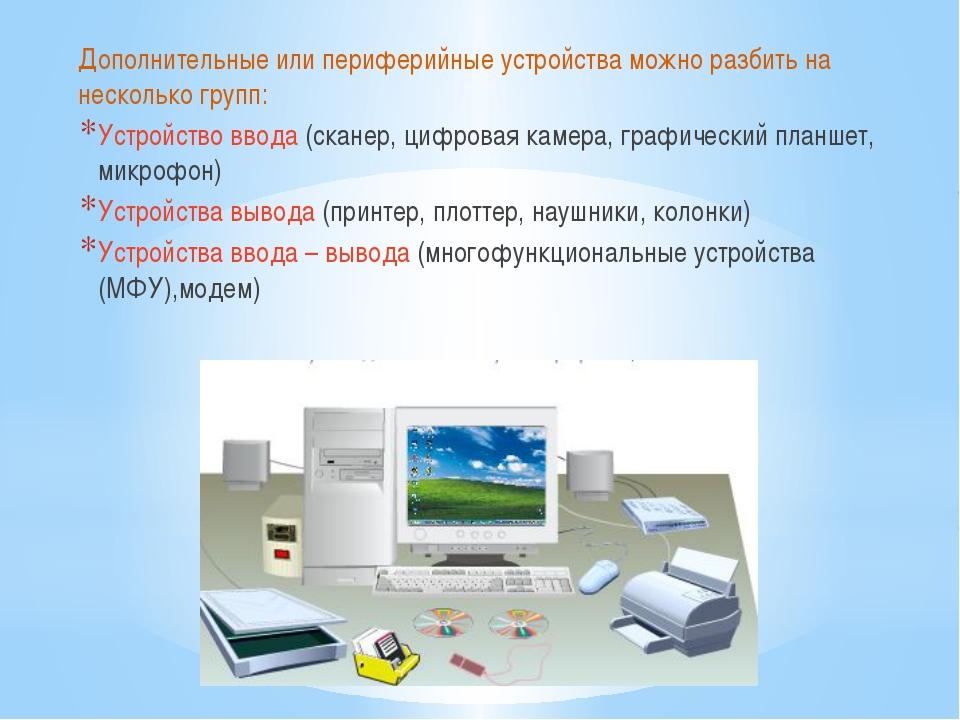 Дополнительные или периферийные устройства можно разбить на несколько групп:...