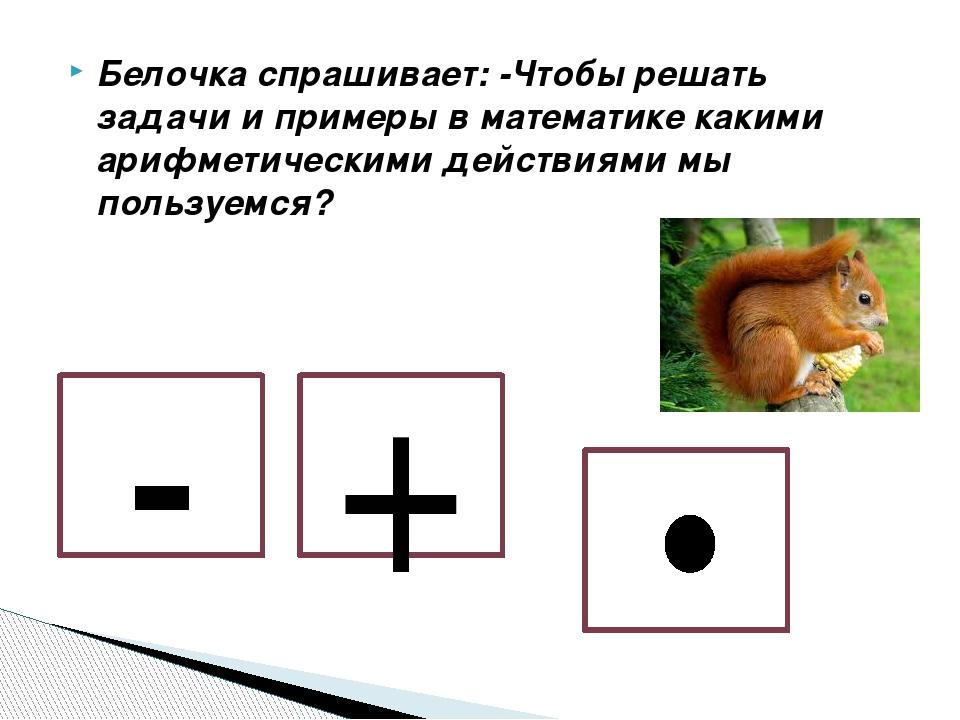 Белочка спрашивает: -Чтобы решать задачи и примеры в математике какими арифме...