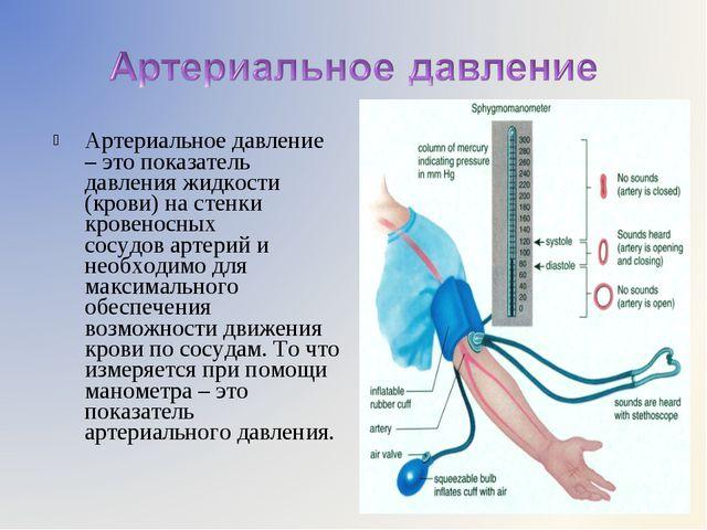 Артериальное давление – это показатель давления жидкости (крови) настенки кр...