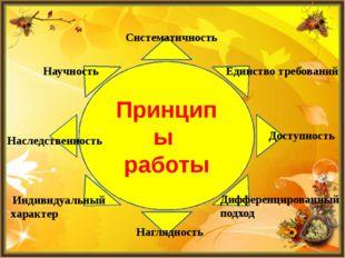 Принципы работы Систематичность Единство требований Доступность Дифференциров