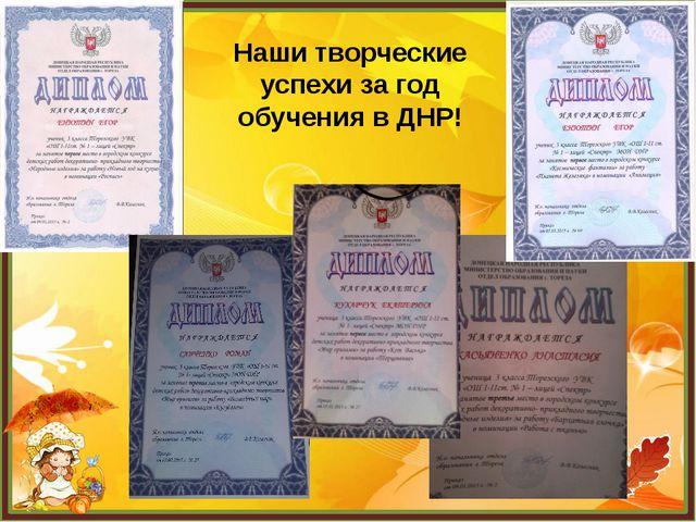 Наши творческие успехи за год обучения в ДНР!