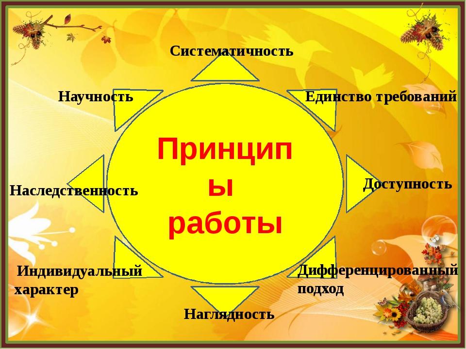 Принципы работы Систематичность Единство требований Доступность Дифференциров...