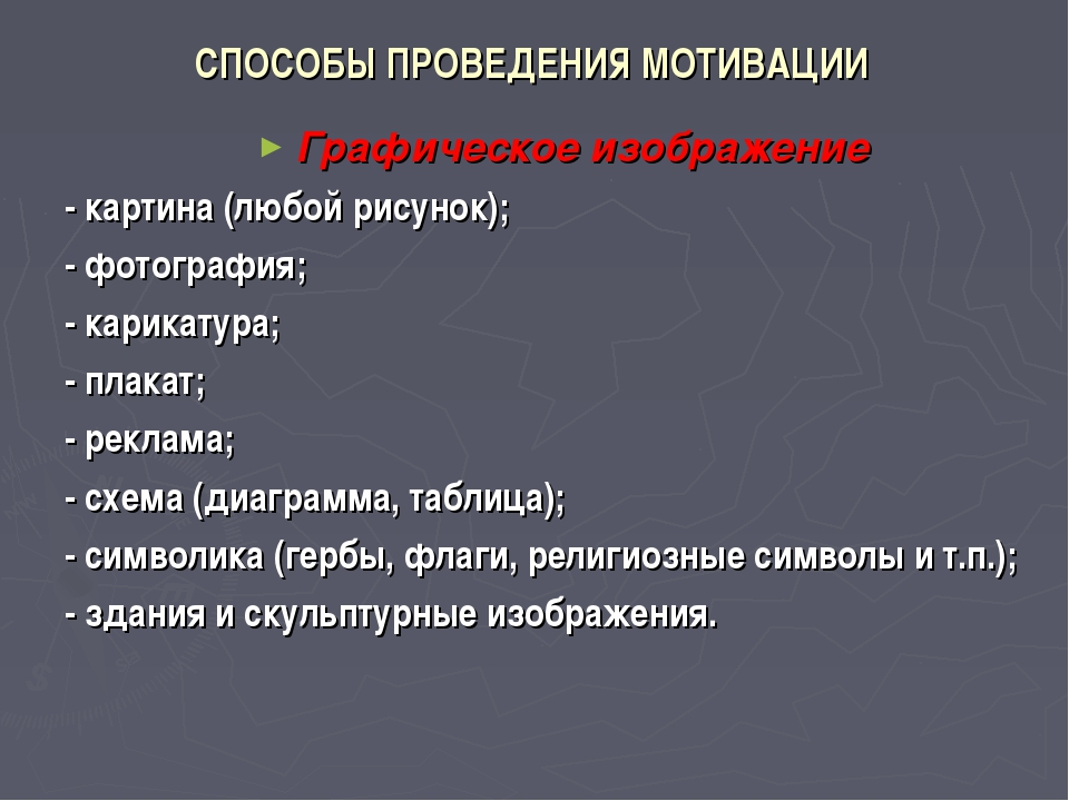 СПОСОБЫ ПРОВЕДЕНИЯ МОТИВАЦИИ Графическое изображение - картина (любой рисунок...