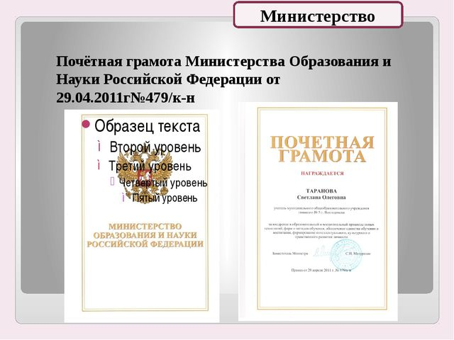 Почётная грамота Министерства Образования и Науки Российской Федерации от 29...