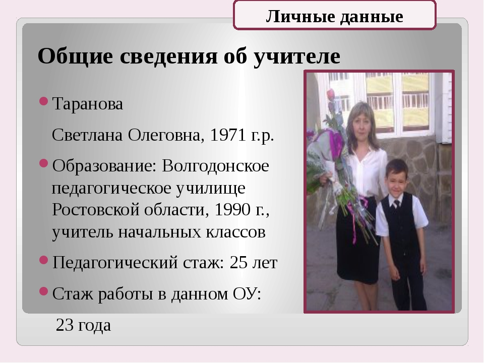 Общие сведения об учителе Таранова Светлана Олеговна, 1971 г.р. Образование:...