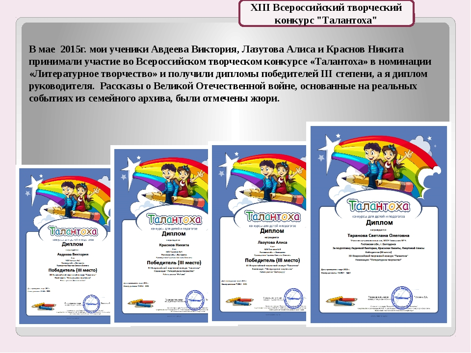 В мае 2015г. мои ученики Авдеева Виктория, Лазутова Алиса и Краснов Никита пр...