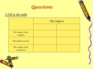 Questions I Fill in the table The Congress The number of the members The memb