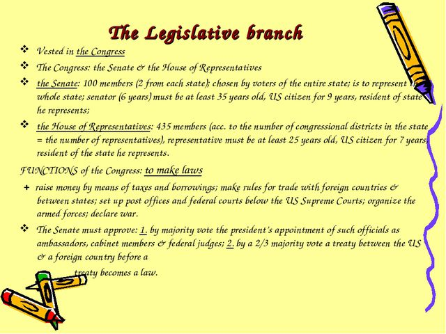 The Legislative branch Vested in the Congress The Congress: the Senate & the...