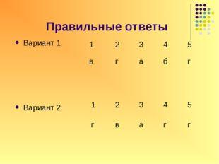 Правильные ответы Вариант 1 Вариант 2 12345 вгабг 12345 гвагг