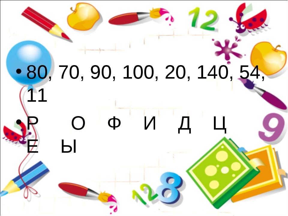 80, 70, 90, 100, 20, 140, 54, 11 Р О Ф И Д Ц Е Ы