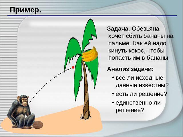 Пример. Задача. Обезьяна хочет сбить бананы на пальме. Как ей надо кинуть кок...