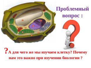 Проблемный вопрос : ?А для чего же мы изучаем клетку? Почему нам это важно пр