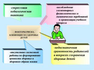 ФАКТОРЫ РИСКА, ВЛИЯЮЩИЕ НА ЗДОРОВЬЕ ДЕТЕЙ -отсутствие системной работы по фо