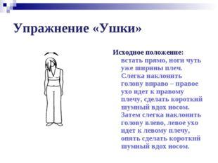 Упражнение «Ушки» Исходное положение: встать прямо, ноги чуть уже ширины плеч